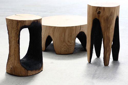 Sgabello In Legno Design : Ausgebrannt kasper hamacher tavoli sgabelli design legno e fuoco