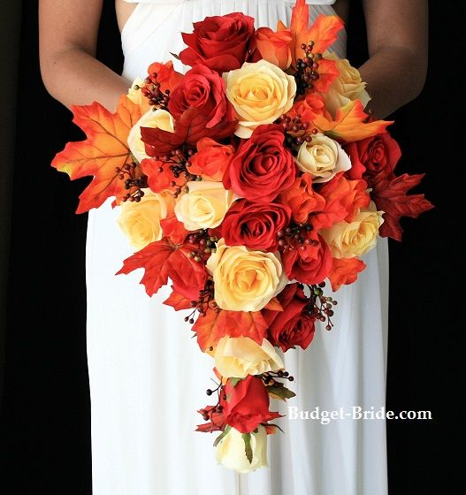 Cascading Fall Wedding Bouquets Pictures With Red Atlas Collection