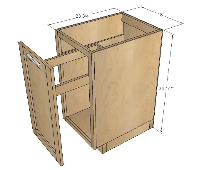 18 kitchen base cabinet trash pull out or storage cupboard with door - Kitchen Cabinet Dimensions Standard