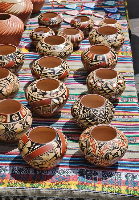 Colorful Pottery For Sale At The Santa Fe Indian Market
