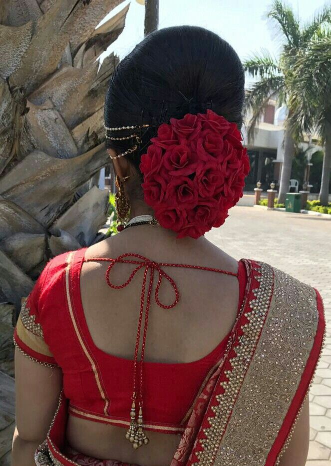 Red Rose Bun Decoration Indian Wedding Hairstyle In 2019