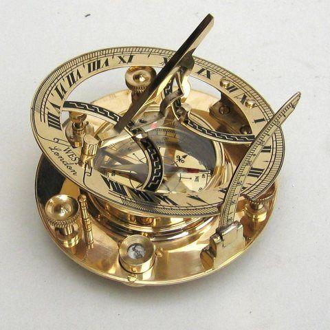 Sundial Brass Finish Compass Handmade Nautical Ship Direction Sundial Clock Tool
