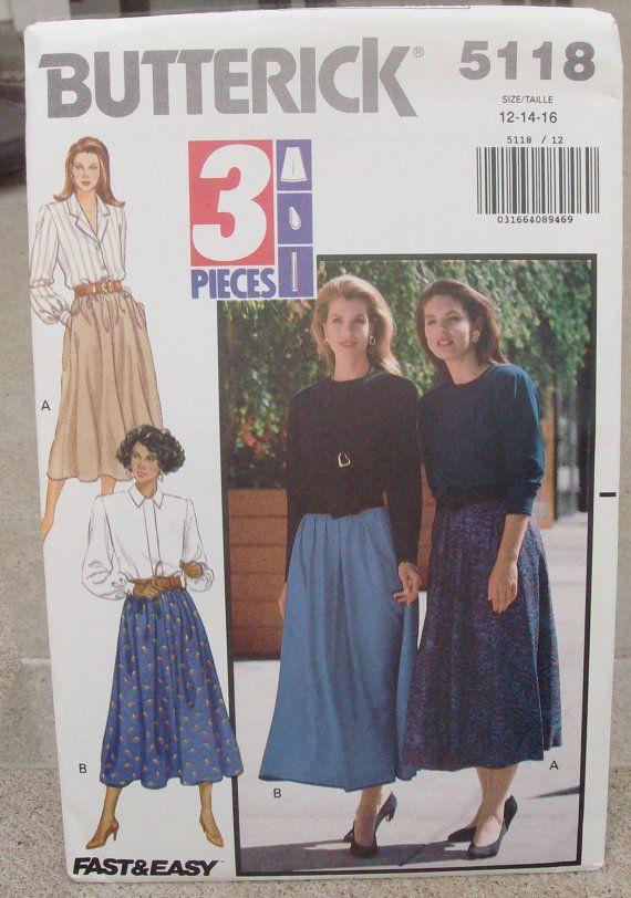 1990 Uncut Butterick Pattern 5118 Misses by lovelylovepatterns, $3.50