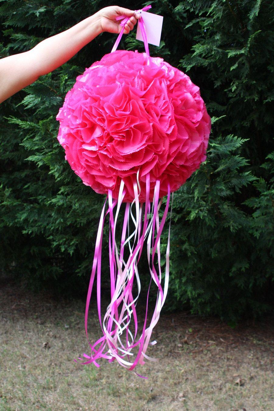 wedding pinata hot pink flower ball pinata pomander kissing ball pinata bachelorette party. Black Bedroom Furniture Sets. Home Design Ideas