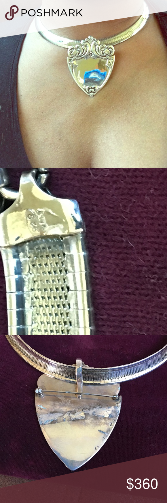 Antique signet pendant and a mega necklace Antique Victorian pendant 925 and omega necklace 16 inches Jewelry Bracelets