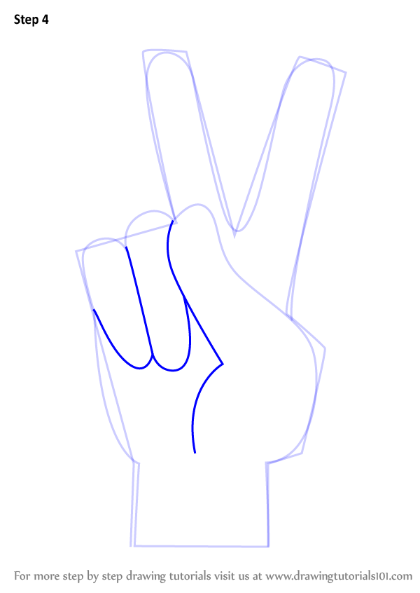 Learn How To Draw Peace Sign Hand Symbols Step By Step Drawing