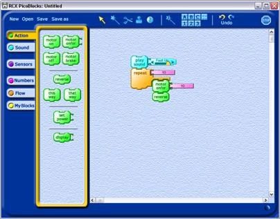 RCX PicoBlocks visual programming software for picocricket blocks