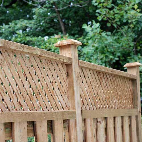 Shadowbox And Lattice Wood Fence With Custom Decorative