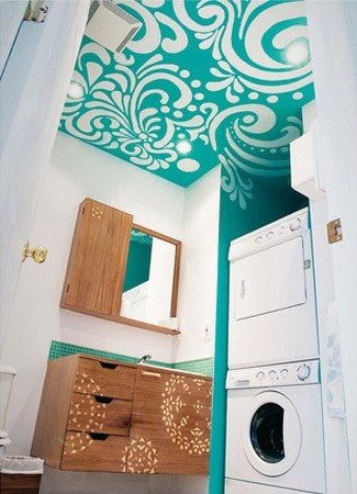 Love everything about this! Painted ceiling! Storage! Laundry!