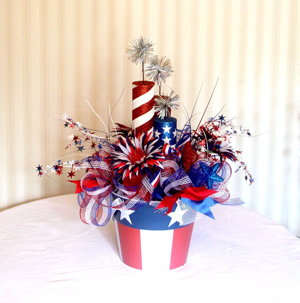 Large Patriotic Floral Arrangement July 4th Centerpiece
