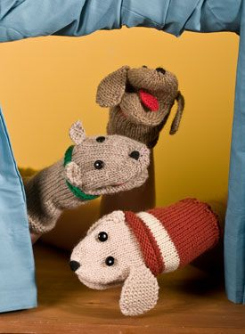 Knitted hand puppets