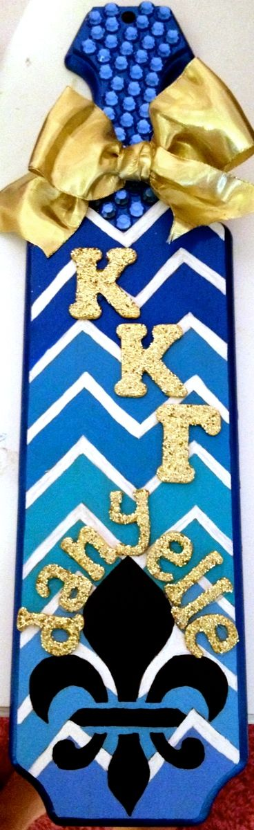 Super cute Kappa fleur de lis blue and gold paddle | Greek Life ...