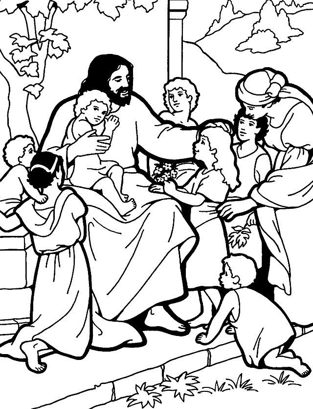 Jesus Teaching On The Mountain Bible Coloring Pages Bible For Kids