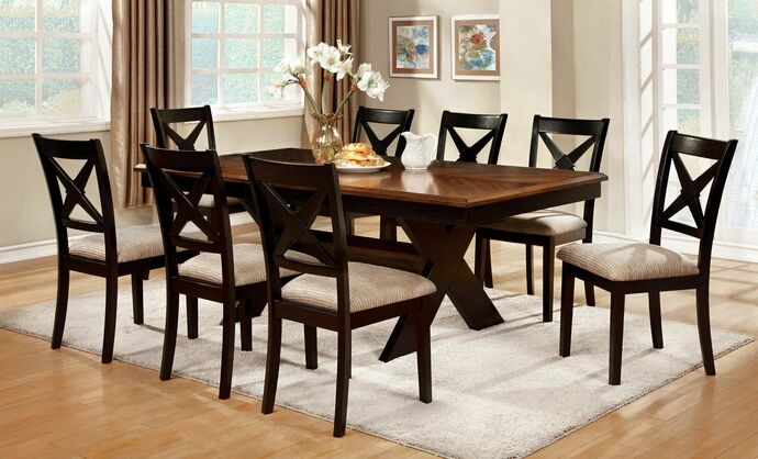 7 Pc Liberta Collection Cross Leg Pedestal Dark Oak U0026 Black Finish Wood Dining  Table Set