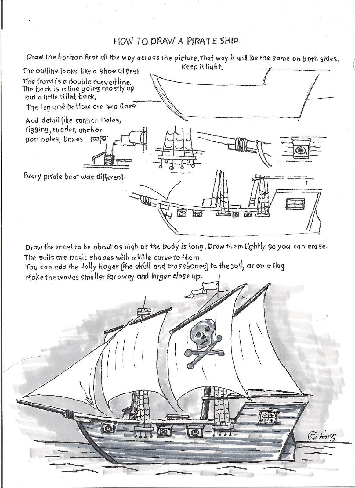 How To Draw A Pirate Ship Easy Worksheet