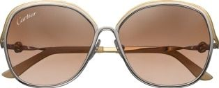 Trinity sunglasses: Smooth two-tone golden and palladium-finish metal sunglasses. Square shape, graduated brown lenses, temple tips with Cartier signature. Dimensions: 60 mm lenses