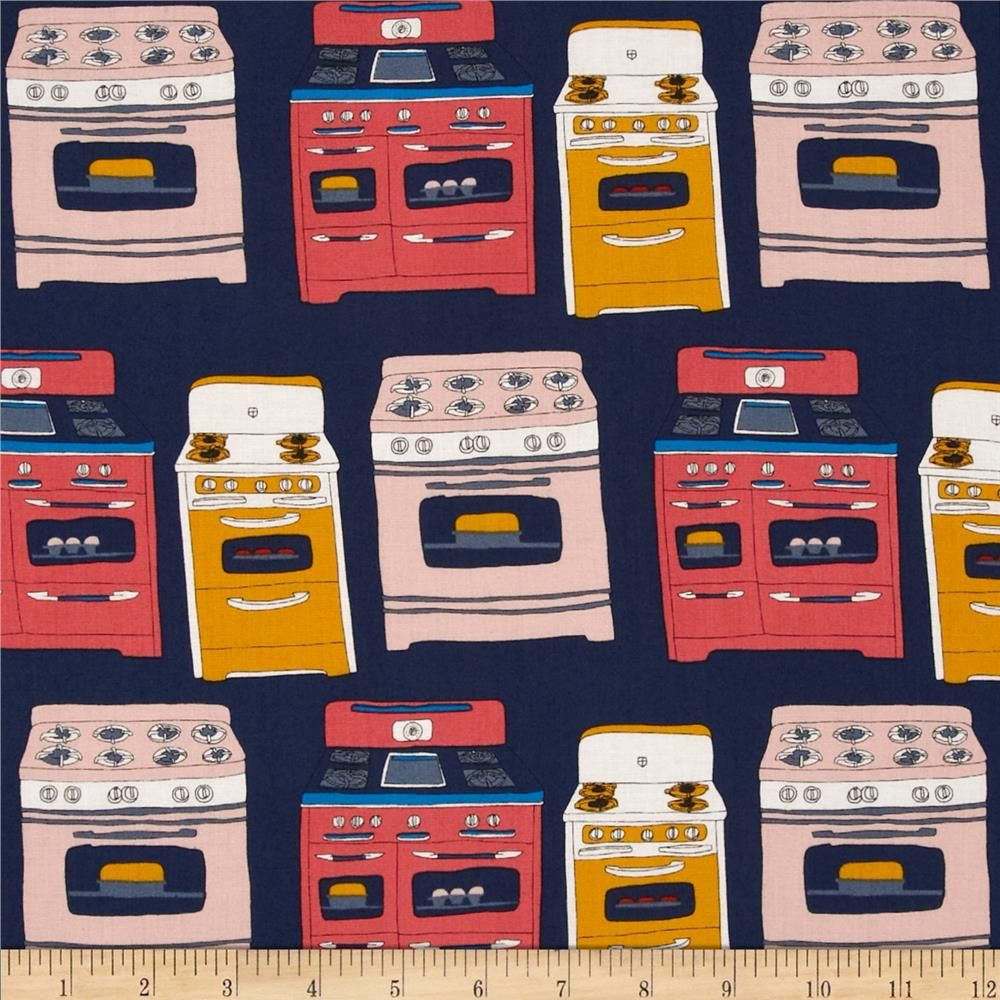 Bake Ovens Multi from @fabricdotcom  Designed by Julia Rothman for Windham Fabrics, this cotton print is perfect for quilting, apparel and home decor accents.  Colors include white, grey, navy, coral, mustard, salmon and electric blue.