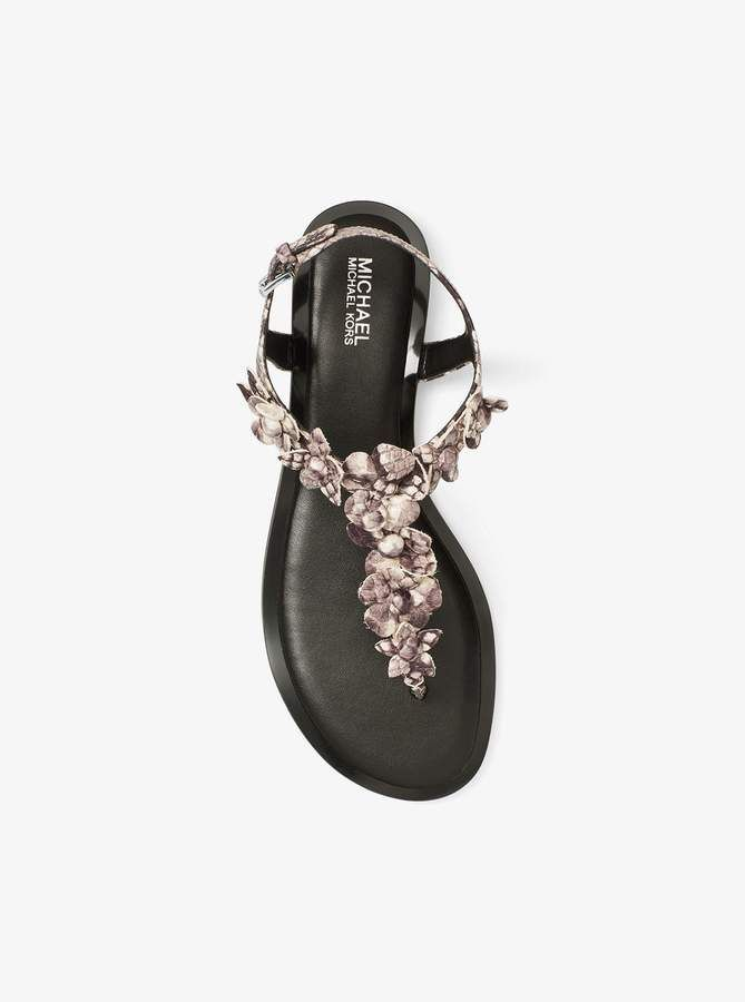 2bce40e6847a MICHAEL Michael Kors Tricia Floral Applique Snake-Embossed Leather Sandal