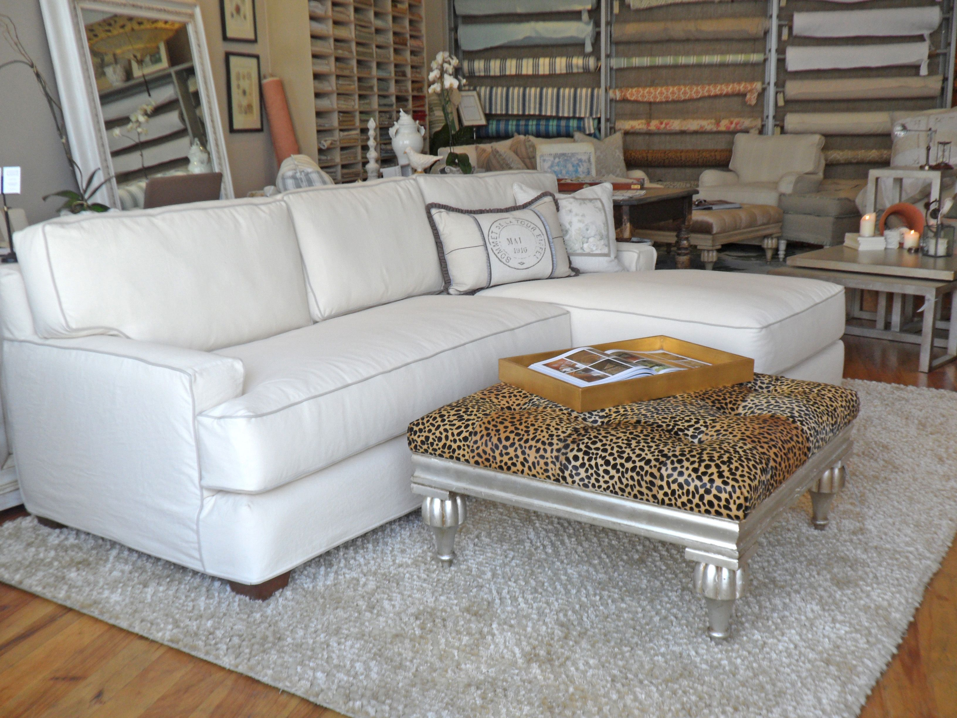 Quatrine White Slipcovered New Yorker Chaise Sectional