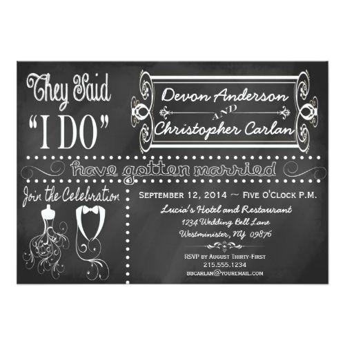 After Wedding Trendy Chalkboard Invitation  Chalkboard Wedding