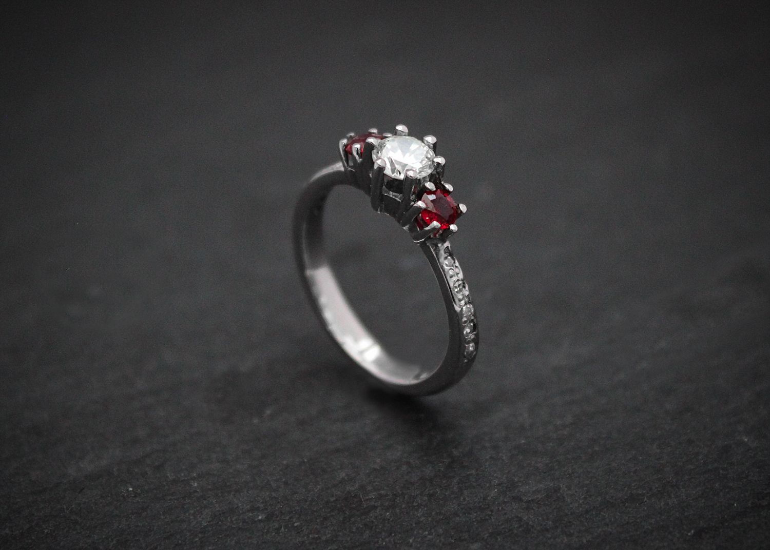 a #diamond and #ruby #engagement #ring. made in #newcastle in