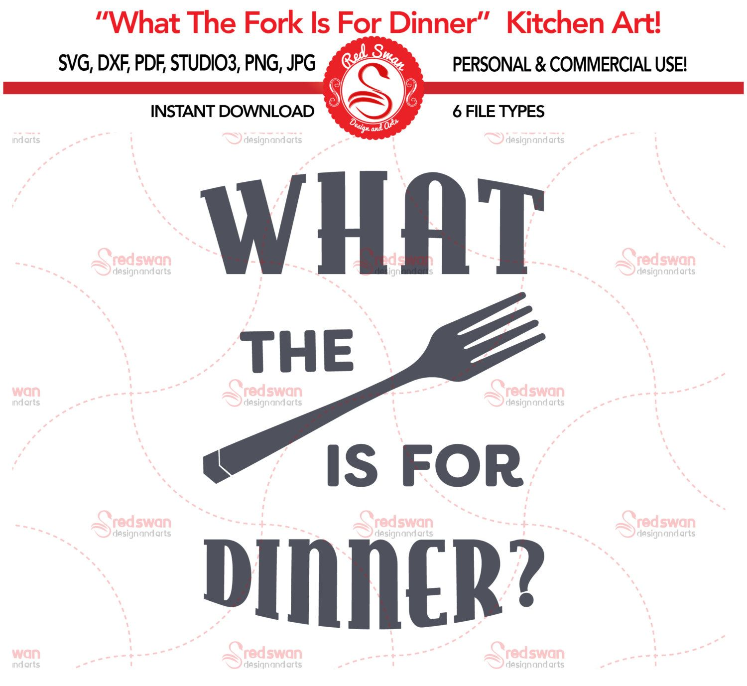 Kitchen Svg What The Fork Is For Dinner Cutting File, Svg, Dxf, Pdf