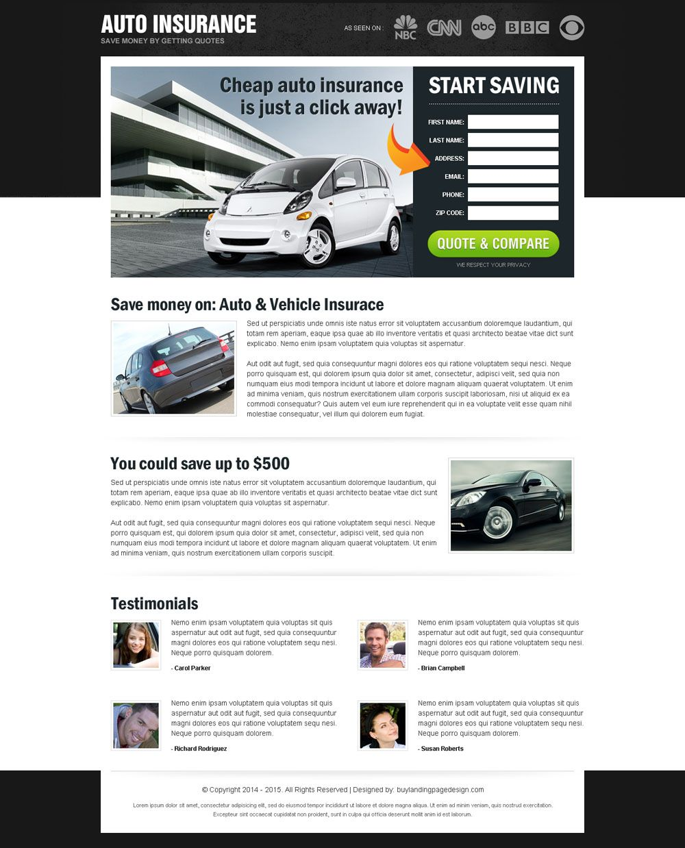 Save money on auto insurance most converting and appealing html landing page