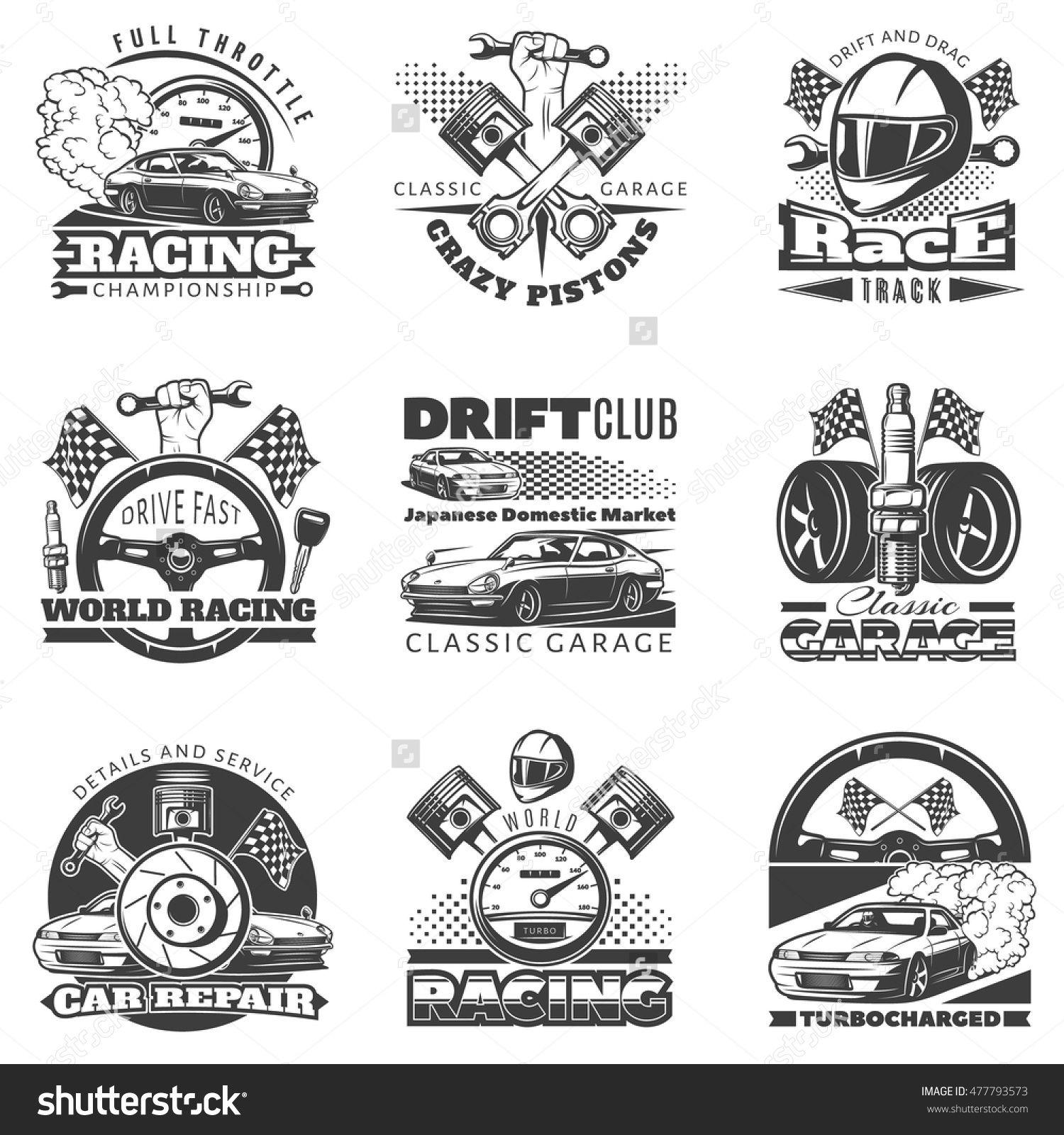 Set Of Car Racing Black Monochrome Emblems Labels Logos And Championship Race Badges With Descriptions Of C Automotive Logo Design Car Clubs Logo Garage Logo