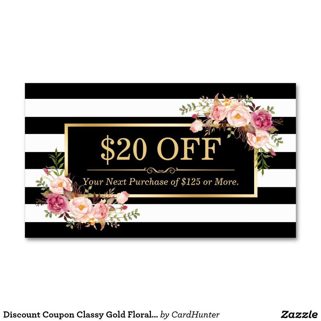Discount Coupon Classy Gold Floral Beauty Salon Double-Sided ...