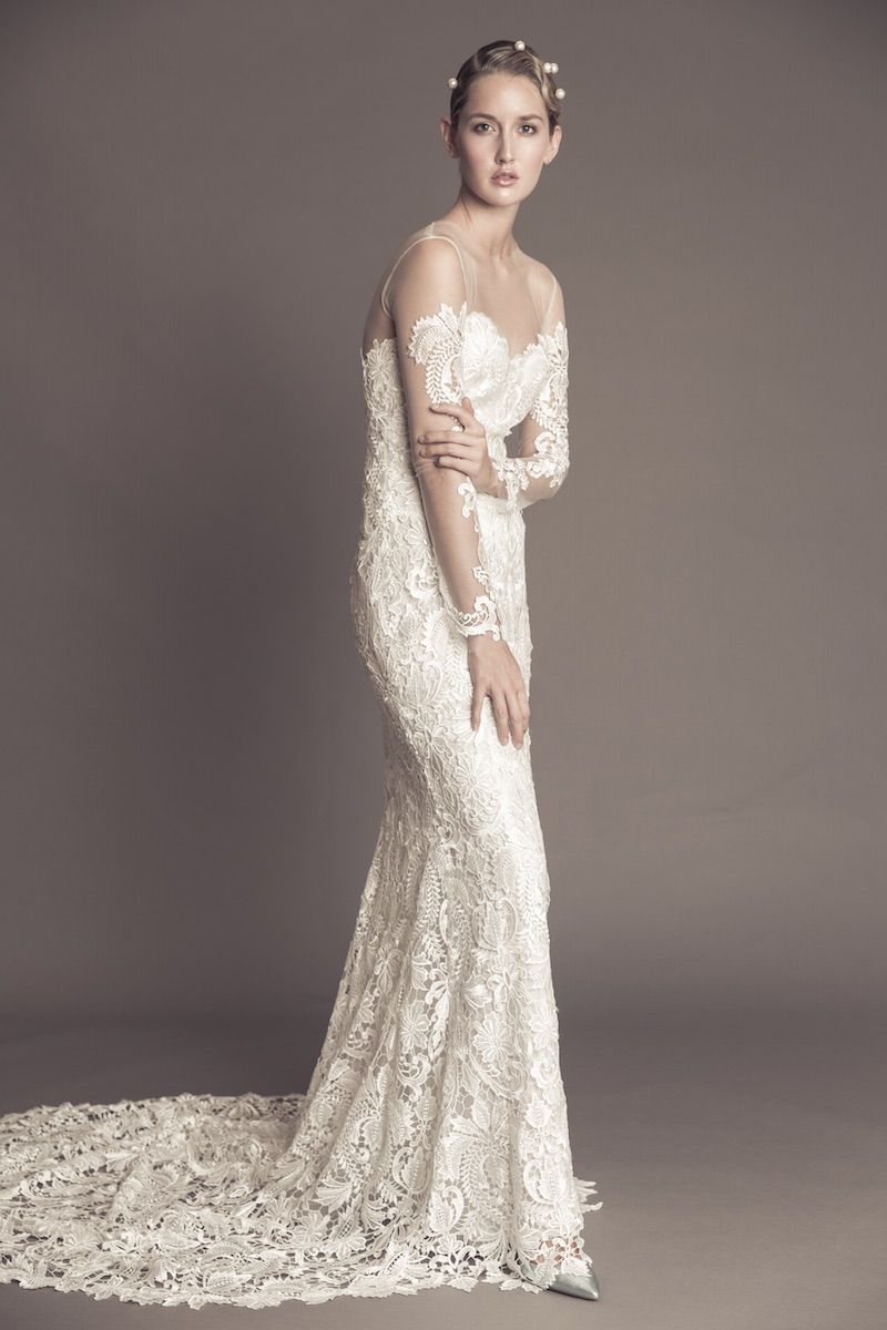 Lace wedding dress with illusion neckline and long sleeves from