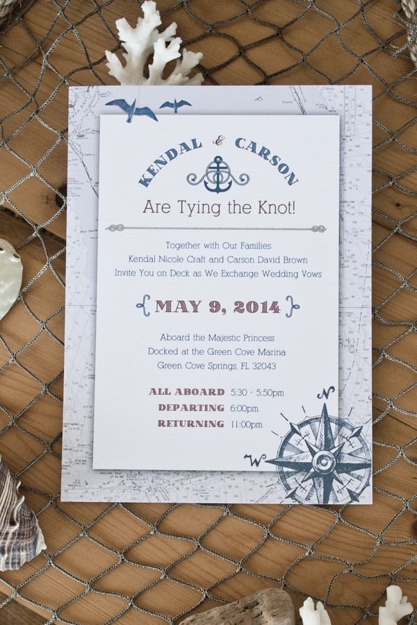 Nautical wedding invite set with coastal emblems such as rope ...