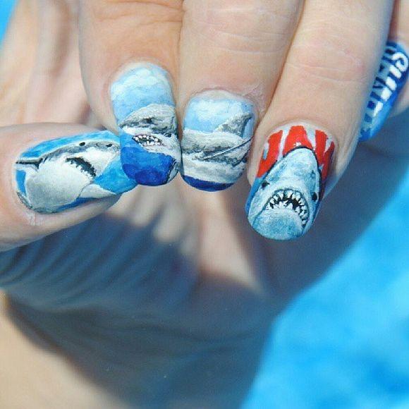 55 Killer Shark Nail Designs Nail Art Pinterest Shark Amazing
