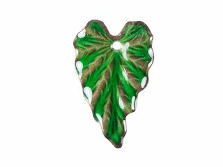 Gardanne Beads Emerald Enameled Brass Ivy Leaf Charm (Left)