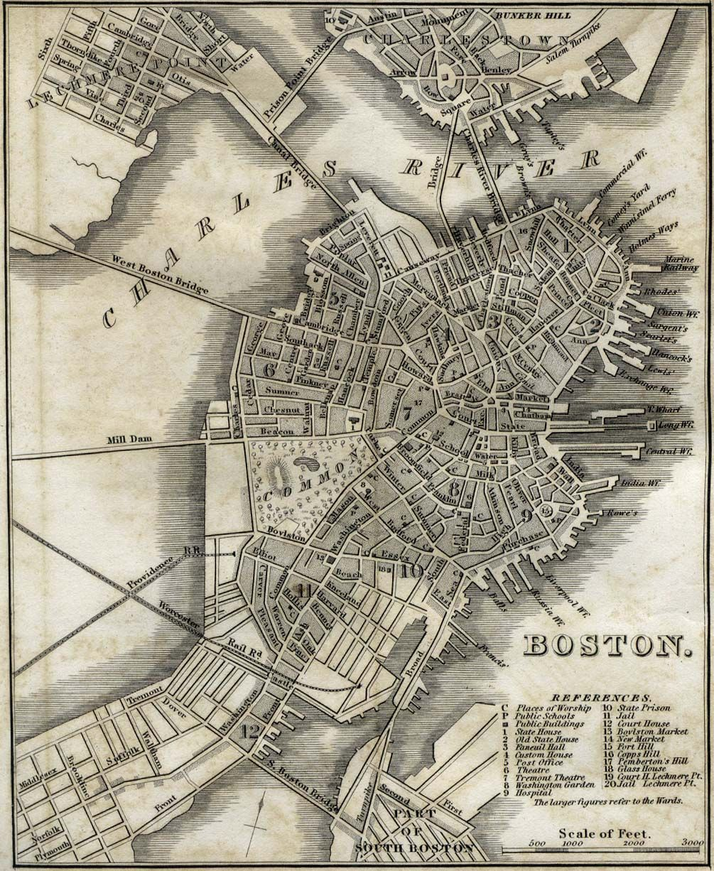 Pretty old map of Boston in 1842 | Maps | Boston map, Map ...