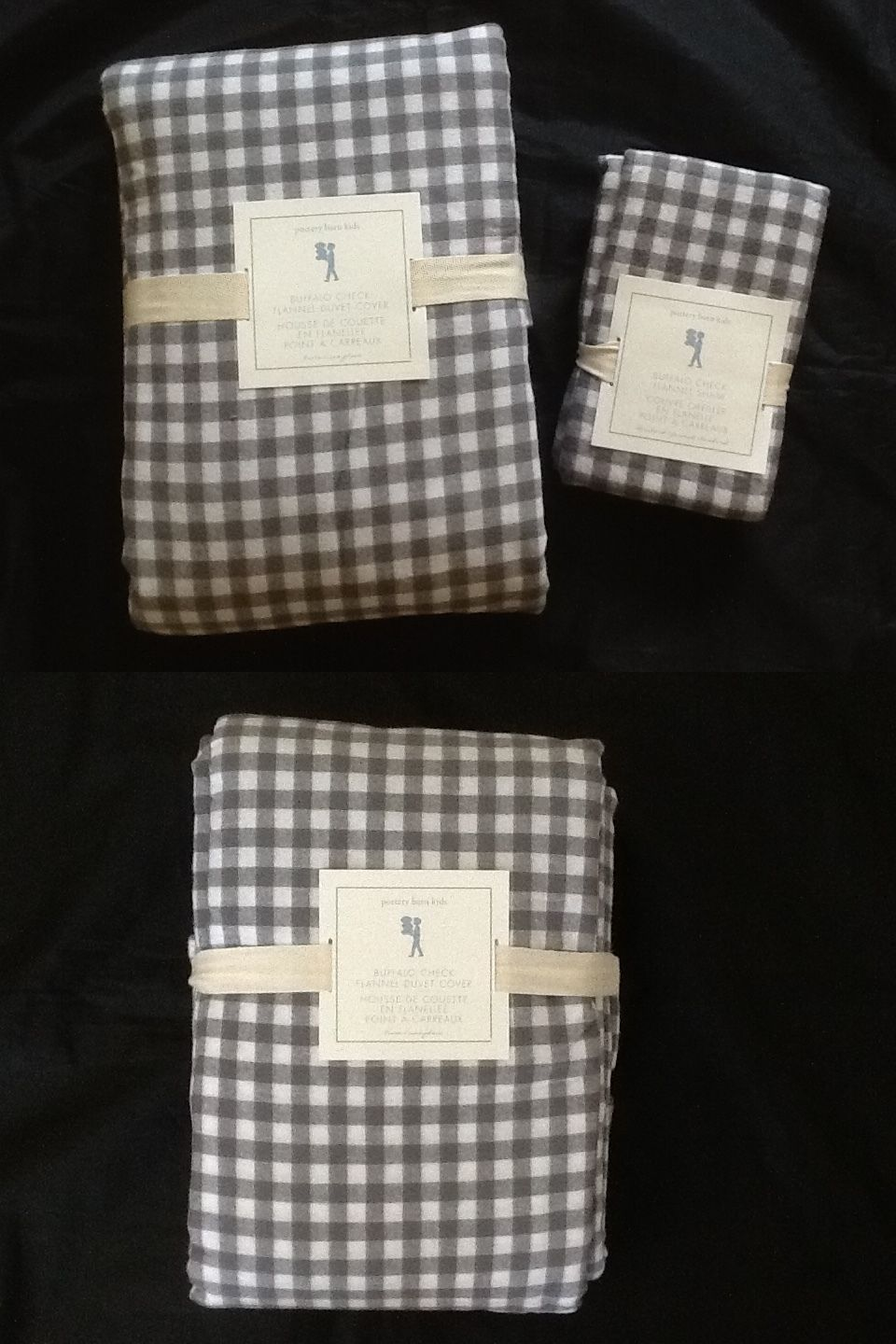 Kids Bedding: Pottery Barn Kids Buffalo Check Flannel Duvet Cover And Sham Twin Gray New BUY IT NOW ONLY: $75.0