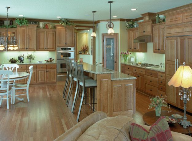 charming blue kitchen island ideas | Charming kitchen with large center island with raised ...