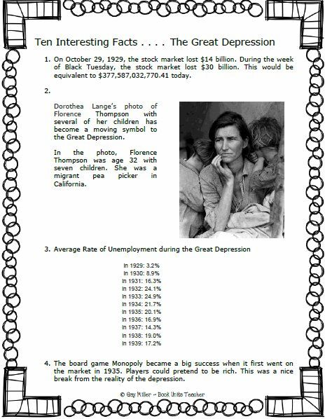 10 facts on the great depression Financial great depression facts  in the 1920s, the wealthiest one percent owned more than a third of american assets  when stock speculator was a prominent practice, banks lent money to investors to buy stock nearly $400 out of.