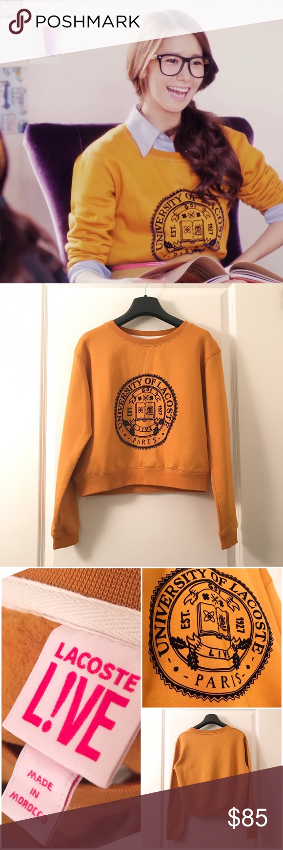 Lacoste college yellow mustard crop sweatshirt As worn by Yoona from Girl's generation. Slim fit. New without tag. Never wore never washed. Lacoste Tops Sweatshirts & Hoodies