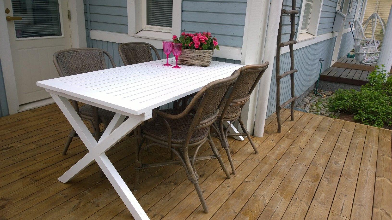 Terassikuvaa Buru ruokapöytä valkoinen  Cafe tuolit harmaat www.parolanrottinki.fi
