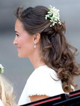 Wedding bridal party hairstyles half up