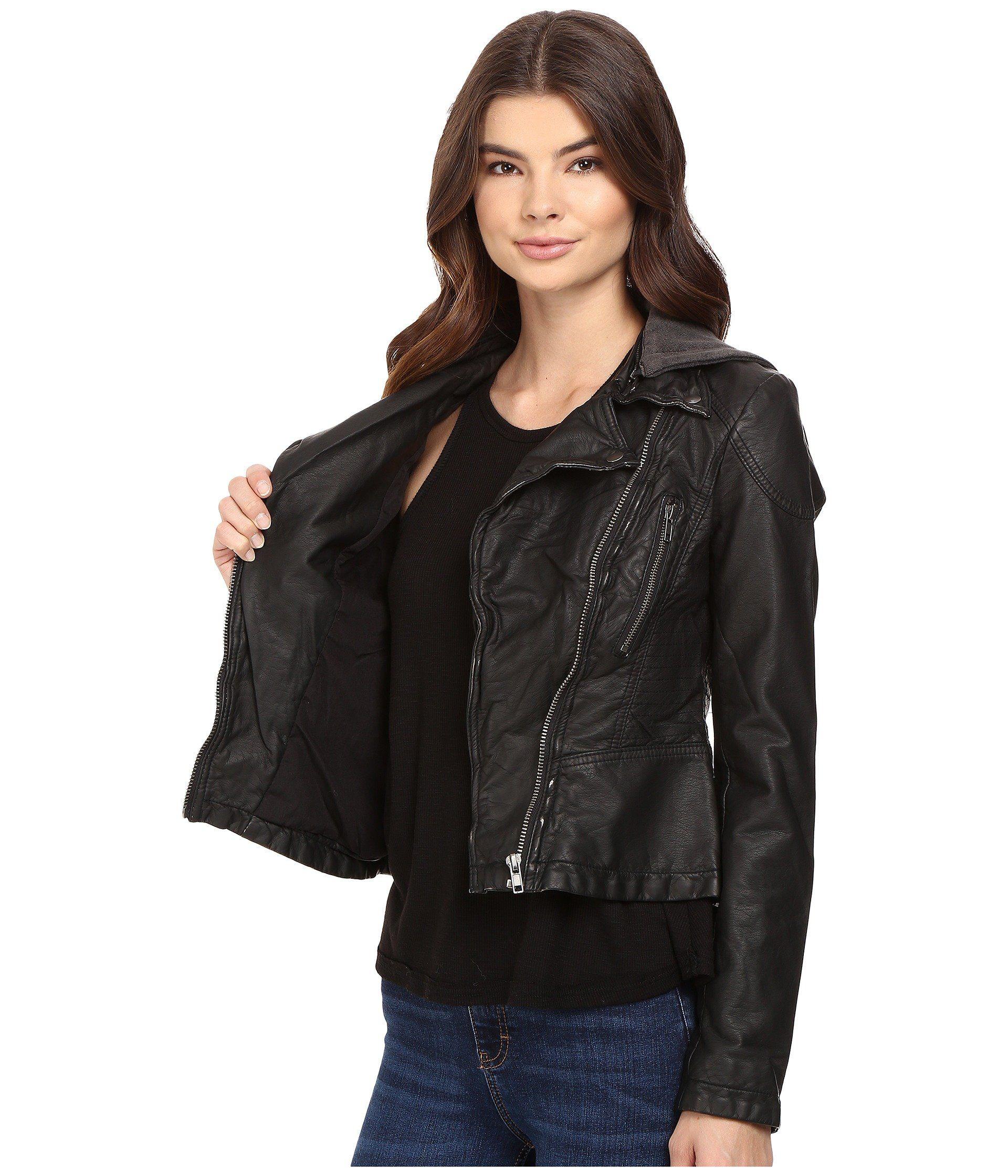 Free People Womens Hooded Vegan Leather Jacket Black 4