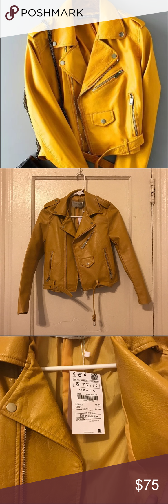 Yellow faux leather jacket NWT Leather jacket, Faux