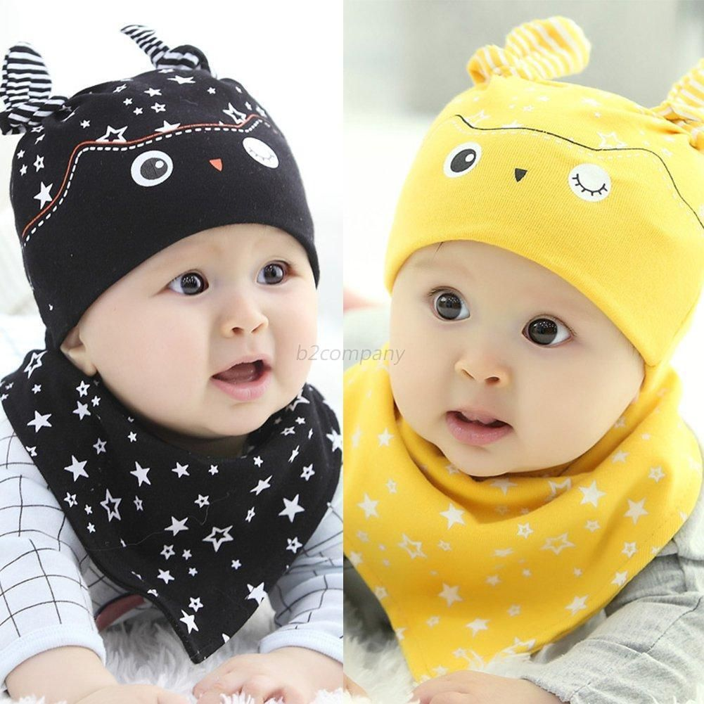 c360cf377658  1.49 - Cute Baby Boy Girl Hat Cap+Saliva Towel Triangle Head Scarf ...