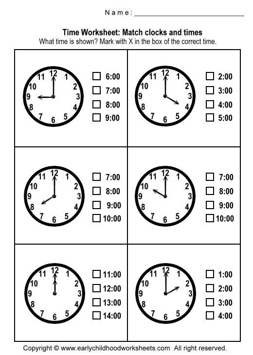 Matching Clocks And Time Worksheets Worksheet 1 Telling Time