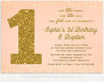 First Birthday And Baptism Invitation Etsy
