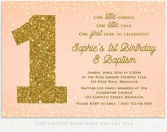 First birthday and baptism invitation Etsy Gabbys Bday