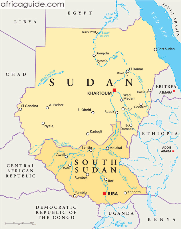 Sudan And South Sudan Map With Capitals Khartoum And Juba ريحة - Sudan map