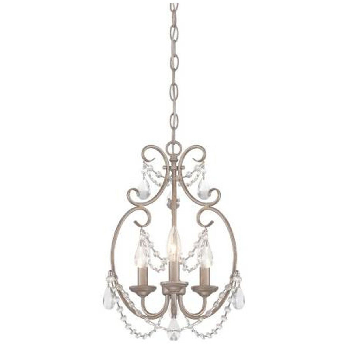Dahlia light mini chandelier in aged platinum with clear faceted