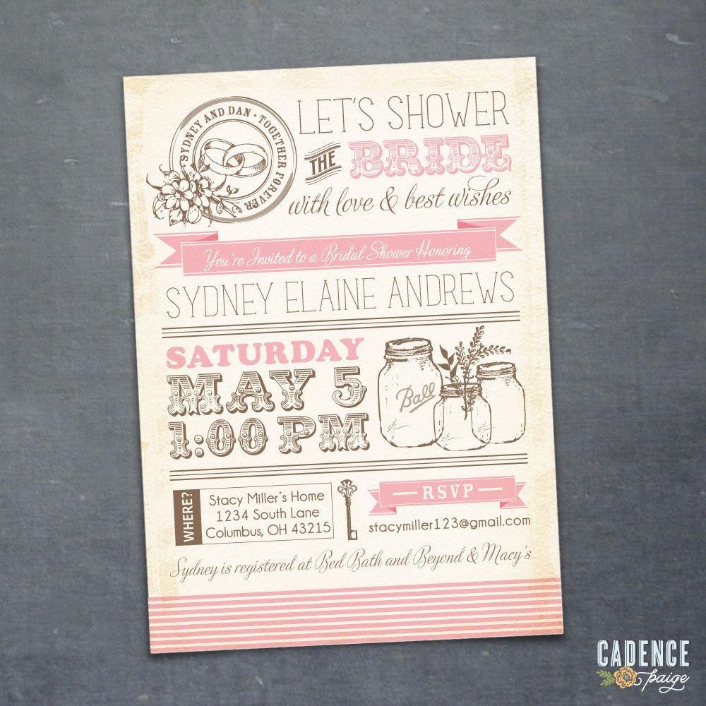 Vintage Mason Jars Bridal Shower Invitation (DIY PRINTABLE FILE ...