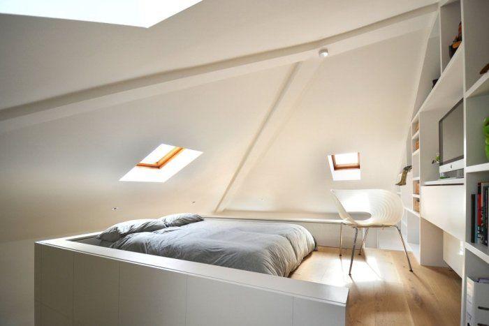 Slaapkamer op zolder + bureau - mezzanine | slaapkamer | Pinterest